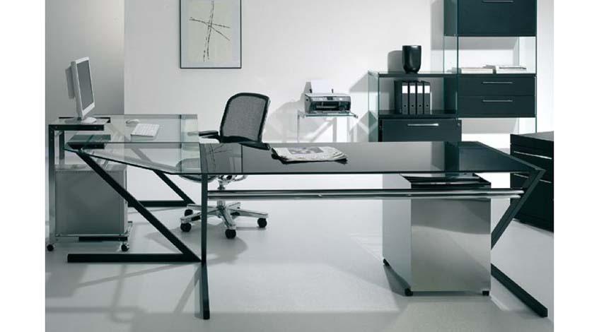 Eckteil Schreibtisch Zen Glas/Chrom